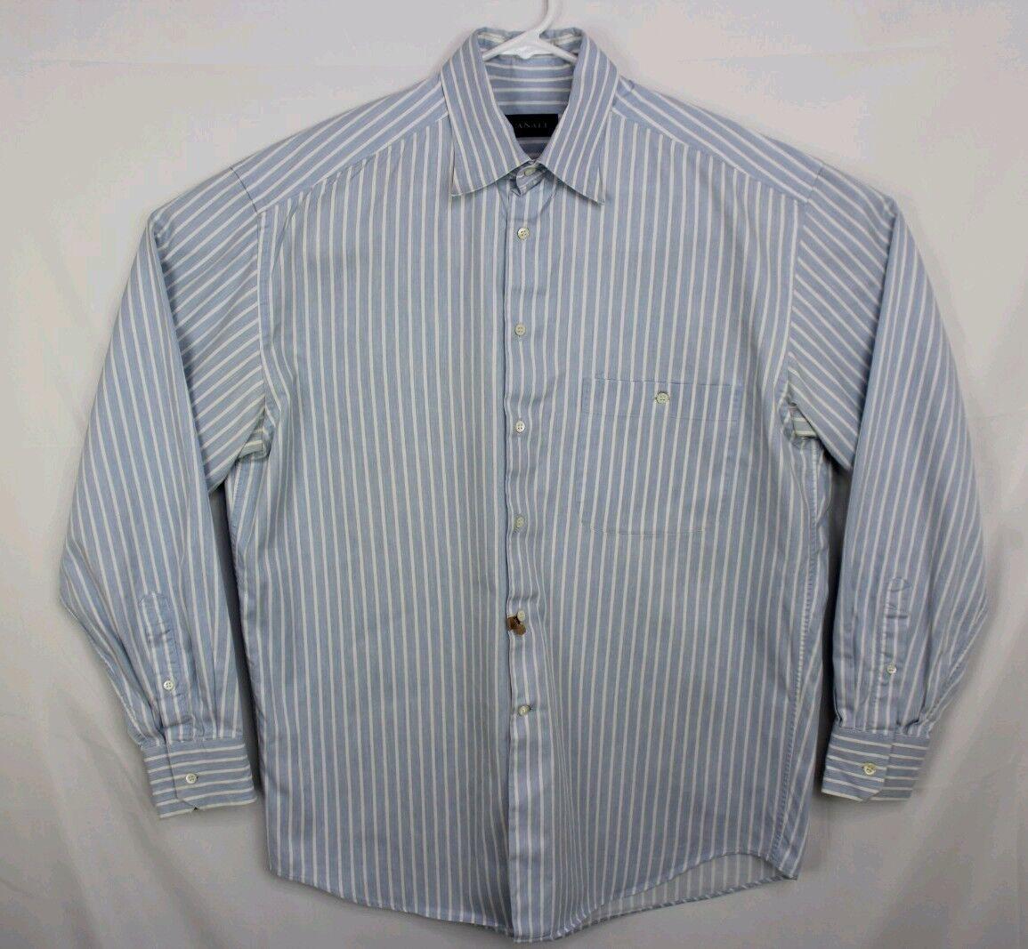 Canali  Button Down Collar Dress Shirt Blau Weiß Stripe 16-41 EUC B12