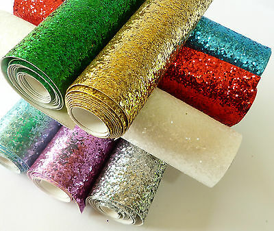 Chunky Glitter Fabric MINI ROLL - 21cm x 100cm - High Quality - EN71 Certified