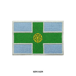 DERBYSHIRE County Flag Embroidered Patch Iron on Sew On Badge For Clothes Etc