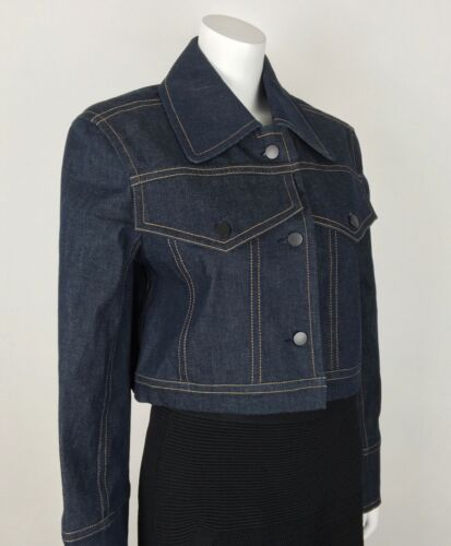 Jean Wash Sz Women's Cotton crop Colovos Boxy 0 100 Dark Jacket Runway 4wpPxPqE