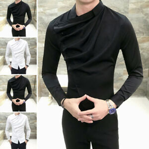 Men-Gothic-Steampunk-Shirt-Top-Long-Sleeve-Formal-Party-Clubwear-Blouse-Tee-Tops