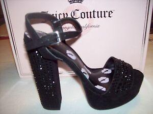a8d1c7cea4ef55 New JUICY COUTURE TRIBECA Women black high heel embellished platform ...