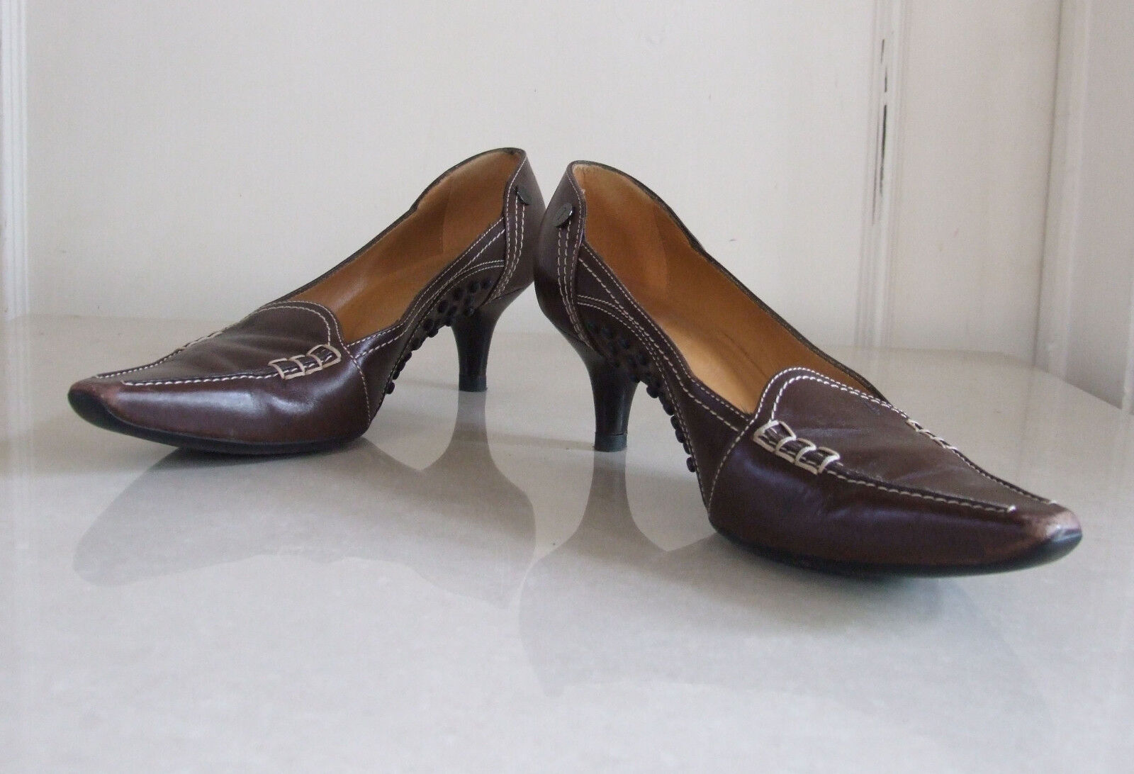 Designer Tods Beautiful Classic Brown Leather Court Slip-On Shoes Mules EU37 UK4