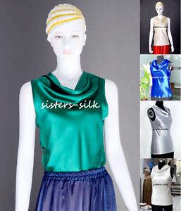 Womens-Girls-19MM-100-Pure-Silk-Cowl-Neck-T-Shirts-Blouse-Tops-Ailisilk
