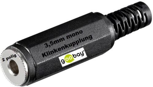 goobay ® 3,5mm Klinke Buchse mono Plastik Klinkenkupplung zum Löten 2 polig