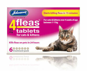 FLEA-TABLETS-FOR-CATS-amp-KITTENS-STARTS-KILLING-IN-15-MINUTES-6-TREATMENT-PACK