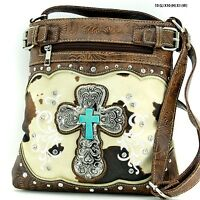 Western Rhinestone Studded Cross Cow Print Messenger Handbag