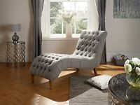 Glencoe Chesterfield Chaise Longue Chair In Grey, Duck Egg, Mink Soft Fabric