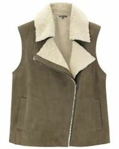 Vince-Off-White-amp-Olive-Asymmetric-Shearling-Suede-and-Real-Fur-Vest-Large