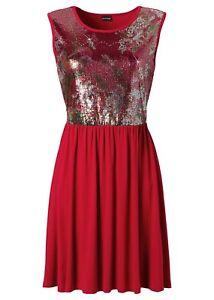 Pailletten-Kleid Gr. 40/42 Rot Damenkleid Cocktailkleid ...