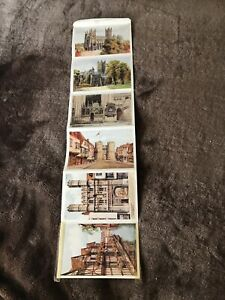 Set-6-Vintage-Fold-Up-1950s-Postcards-Of-Canterbury-Cathedral