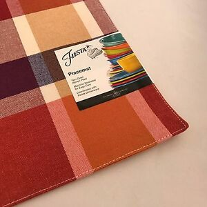 Image Is Loading Fiestaware Soiree Plaid Scarlet Place Mat Fiesta Placemat
