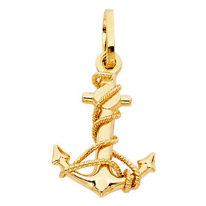 Solid 14k gold yellow gold anchor charm pendant 883957855264 ebay image is loading solid 14k gold yellow gold anchor charm pendant aloadofball Choice Image