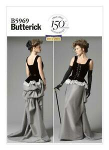 Butterick-B5969-Corset-7Skirt-with-Bustle-Re-enactment-Costume-Pattern-14-22