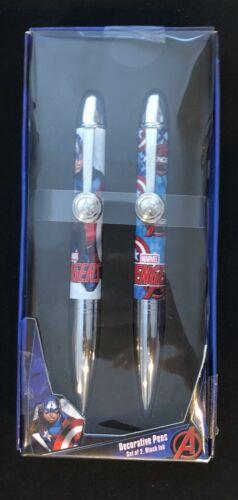 Marvel Avengers • Captain America Decorative Graphic Pens • Set of 2 Black Ink