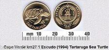 CAPE VERDE 1 ESCUDOS AUNC COIN # 2103