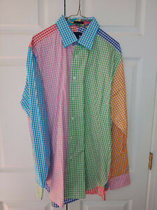 Vtg Men Lilly Pulitzer Multi Color Gingham Check Wyeth Button Down Shirt Size XL