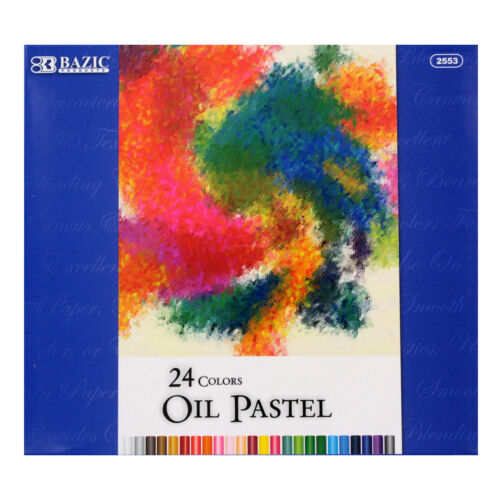 Assorted Colors Bazic 24 Color Oil Pastels Pack of 24 2553
