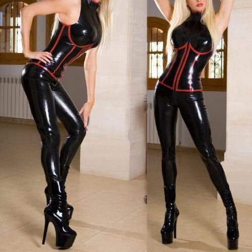 New Women Red Latex Catsuit Bodysuit/&Wetlook Black Clubwear PVC Leather