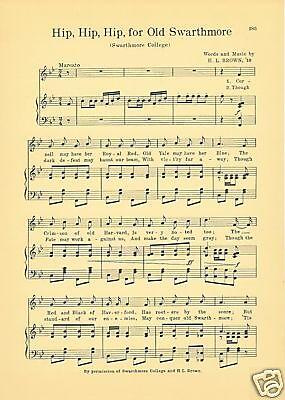 Vtg SWARTHMORE COLLEGE song sheet  /'HIP PA HIP HIP for OLD SWARTHMORE/'