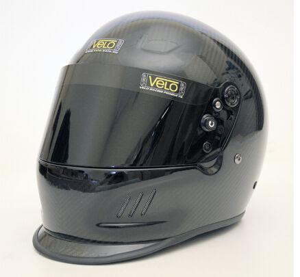 Velo Carbon Fibre Duckbill Motorsport Karting Speedway Helmet SA2010 HANS CAMS