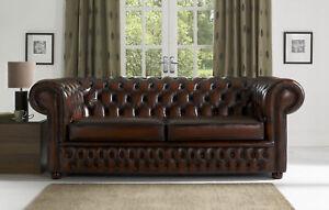 Design Chesterfield Ensemble De Sofa 3- Places Canapé Cuir Marron ...