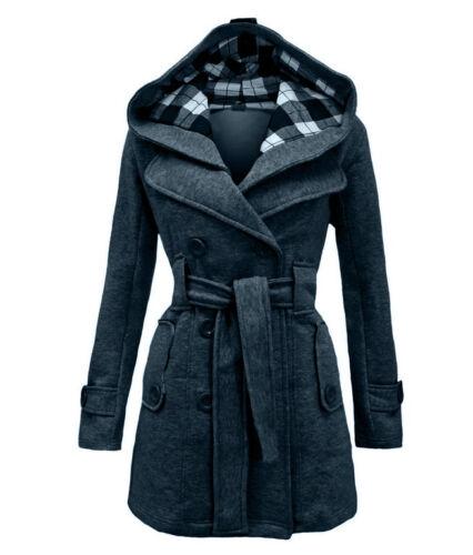 Womens Warm Hooded Trench Winter Wool Coat Blends Long Belt Jacket Outwear 50