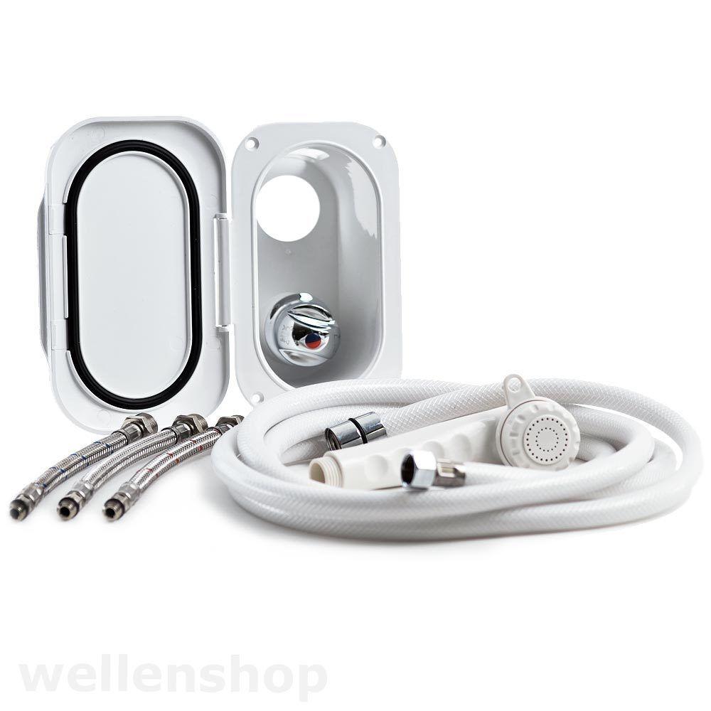 Duschset Duschschlauch Brausekopf Mischbatterie Borddusche Wohnmobil Stiefel Dusche