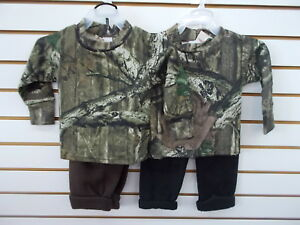 Infant-Toddler-Boys-Mossy-Oak-Camo-2pc-T-Shirt-amp-Fleece-Pants-Set-Sz-6-12m-6-7