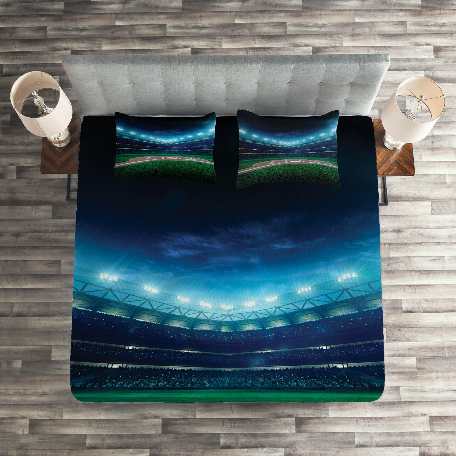 Sports Quilted Coverlet & Pillow Shams Set, Baseball Stadium Night Print