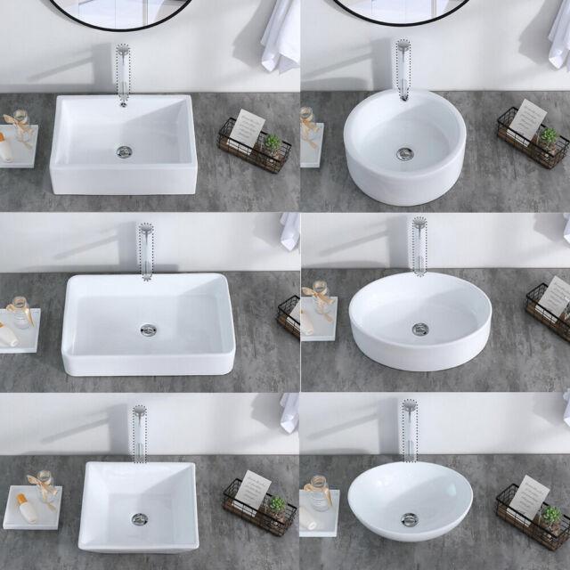 Bathroom White Brown Ceramic Wash Basin Bowl Vessel Sink Only Pop Drain Set For Sale Online Ebay