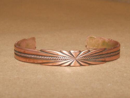Vintage 50s Embossed Copper Starburst & Rope Desi… - image 1