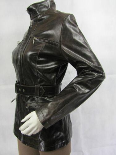 Real Leather Coat Jacket New Women Brown Trench Fitted Rock Vintage Ladies Biker qFU54waEU
