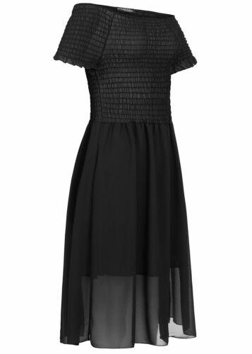 36/% OFF B19076515 Damen Violet Kleid Knielang Chiffon Off Shoulder Dress schwarz