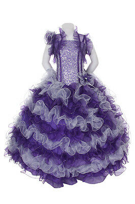 New Girl Glitz Pageant Party Wedding Ruffled Dress Bolero Purple 2 4 6 8 10 12