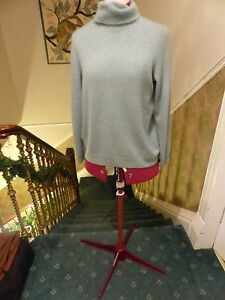 Amp s greenish blue 100 cashmere polo neck sweater size 16 in clean