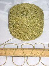 50g ball of Mustard Green knitting wool 4 ply Cotton & Acrylic yarn wavy boucle