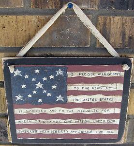 American Flag With Pledge Wall Plaque Primitive Patriotic Americana Rustic Sign