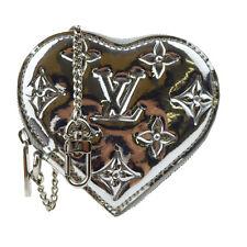 Auth LOUIS VUITTON Heart Coin Purse Case Monogram Miroir Silver M93566 60U419