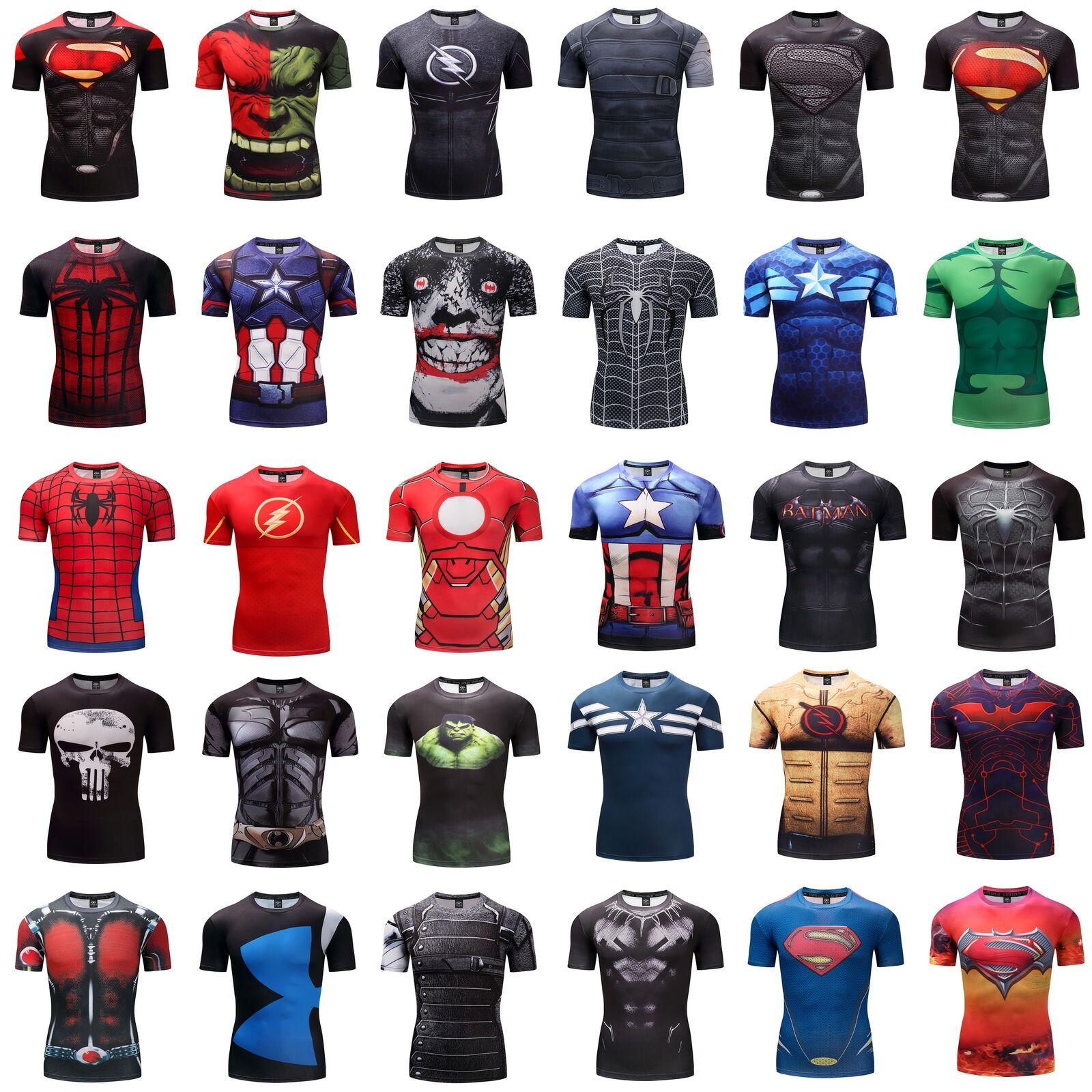 Wholesale GYM 3D Compression T-shirt Superman Marvel Fitness Cycling TOP