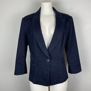 White-House-Black-Market-Blue-Dark-Wash-Denim-Jacket-Blazer-3-4-Sleeves-Size-14