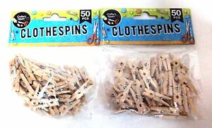 100-Miniature-Craft-Wooden-Clothespins-New-in-Package