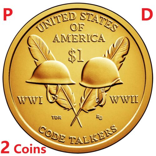 2 coins set 2016 P D Native American Code Talkers Sacagawea Dollar $1
