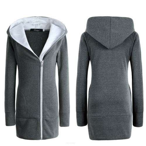 Übergröße Damen Winter Kapuze Hoodie Sweater Langarm Jacken Mantel Winterjacke