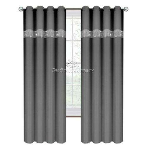 2er Set Gardinen Vorhang Panel Dunkelgrau Wohnzimmer Ösen Zirkonia 145 x 250 cm