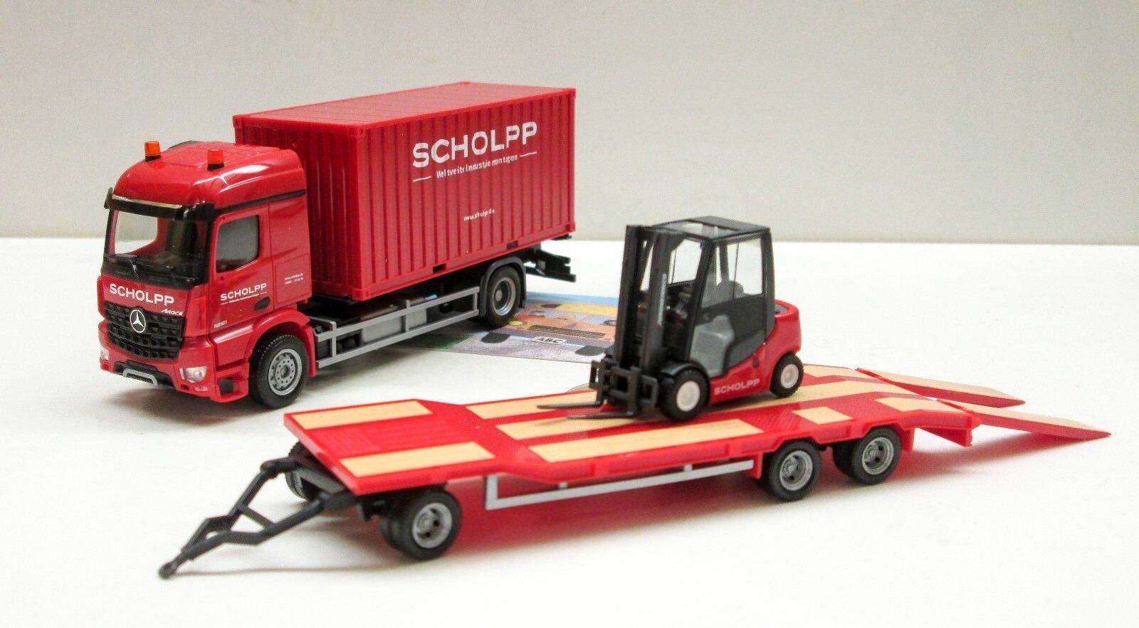 Herpa 306232  MB Arocs Container-Camion avec tu3 et chariot élévateur  Scholpp