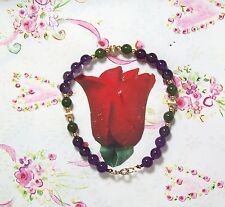 """6mm Amethyst & Green Jade With 14K GF Hand Knotted Beaded Bracelet. 7"""".AME001"""