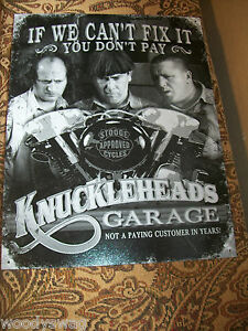 THREE STOOGES Knuckleheads Fix It Sign Tin Vintage Garage Bar Decor Old Rustic