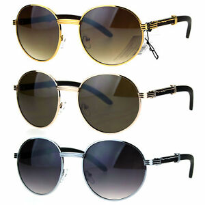974e0064d2 Mens Large Round Wood Buff OG Gangster 90s Luxury Shades Sunglasses ...