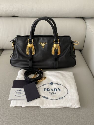 Prada Bauletto soft calf leather black satchel